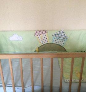 Кроватка детская+бортики+матрас!