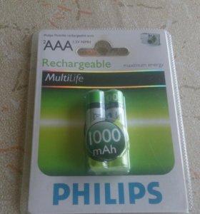 Новые Аккумуляторы AAA Филипс 1000мАч