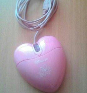 "Мышь ""розовое сердце"" USB"