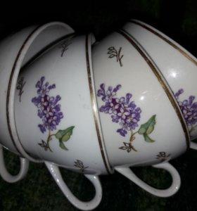 """Чудесные фарфоровые чайные чашки """"Сирень"""" Винтаж"""