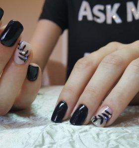 Маникюр, покрытие гель-лаком, роспись ногтей