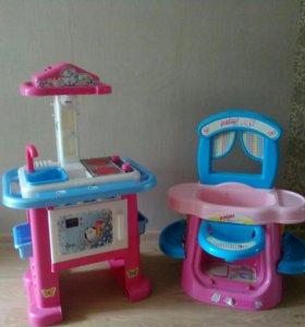 Детская кухня и ванна для кукол