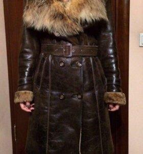 Кожаное меховое пальто/дублёнка