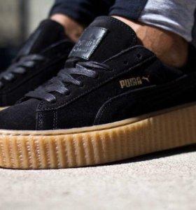 Puma suede creepers Rihanna черно -бежевого цвета