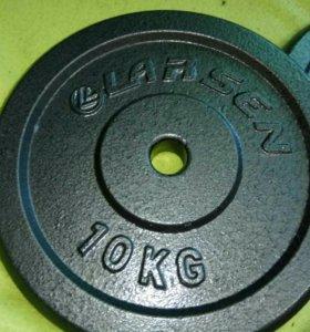 Блины(диски) для штанги 2 по 10кг, диаметр 25мм