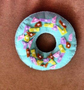 Пончик ручной работы из фетра | Фетр | Подарок