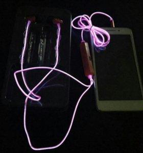 Новые светящиеся EL наушники (розовые)