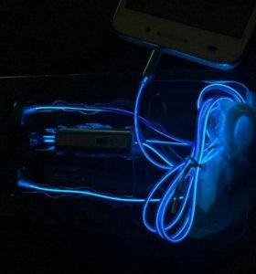 Новые светящиеся EL наушники (голубые)