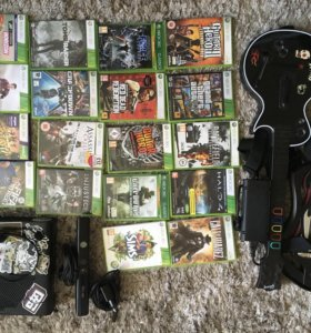 Xbox 360 250gb, Kinect, 2 Guitar Hero, Игры