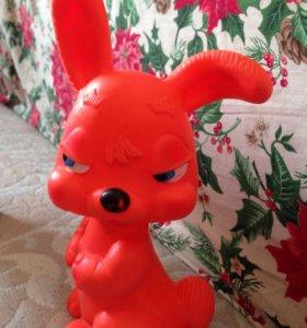 Розовый кролик пищалка СССР Винтаж