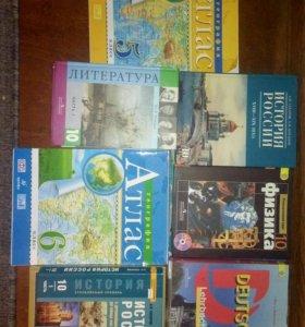 Учебники за 10 класс. + 3 атласа и книга.