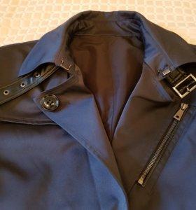 Пальто весеннее / осеннее с кожаными вставками