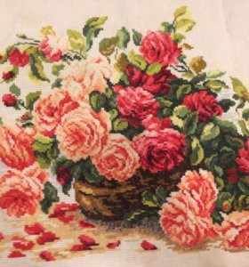 Розы, вышивка крестом