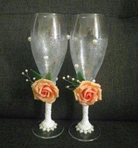 Свадебные бокалы с розами из холодного фарфора