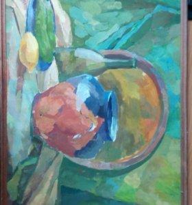 Картина, живопись. Натюрморт с зеленой драпировко