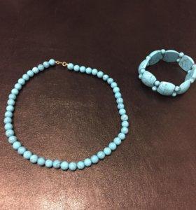 Ожерелье натуральная бирюза и браслет