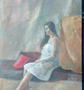 Картина живопись. Девушка в бане