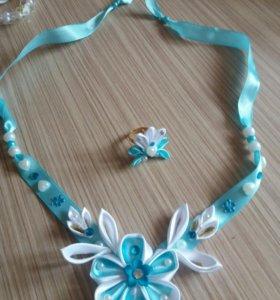 Ожерелье из атласных лент