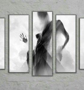 Картина девушка черно белая