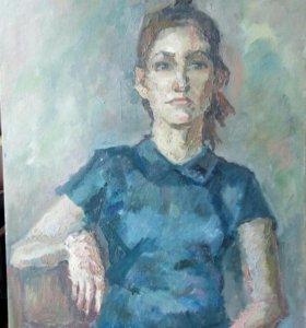 Картина живопись сидящая девушка