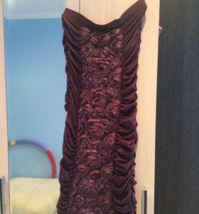 Платье баклажанового цвета S