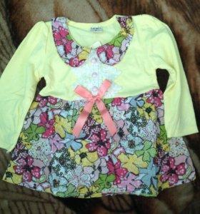 Платье и пинетки для малышки новые