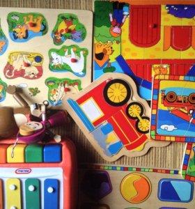 Пакетом пазлы деревянные, Маша и медведь, пианино