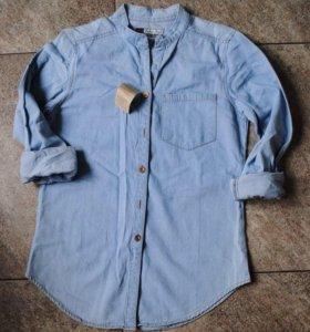 Рубашка джинсовая из денима голубая