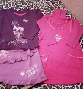 6 комплектов одежды для девочки 4-5 лет