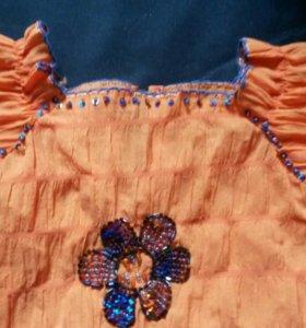 Нарядная жатая блузка  с бисером 5-6 лет