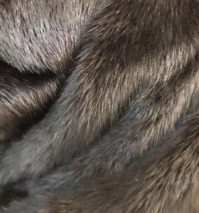 Чёрная НОРКОВАЯ шуба с капюшоном