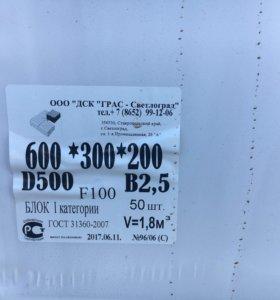 Газобетонные блоки для стен ГРАС 600*300*200