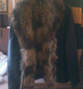 Мужская зимния коженная куртка с мехом!