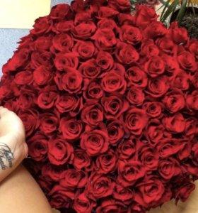 101 Роза красная и белая/ букет роз💐60 см🔥