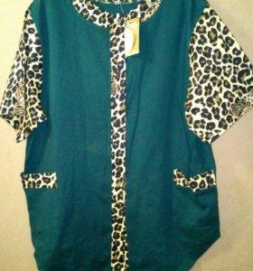 Новая блузка 54-56 хлопок