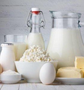 Молоко козье, коровье. Творог. Яйца