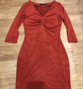 Обтягивающее замшевое платье 40р, xs