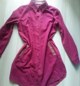 Платье рубашка малиновое
