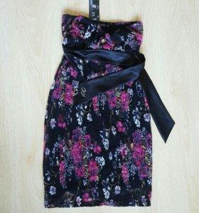 Платье вечернее черное, кружево, без бретелей