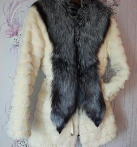 Шуба стриженный кролик с воротником из чернобурки