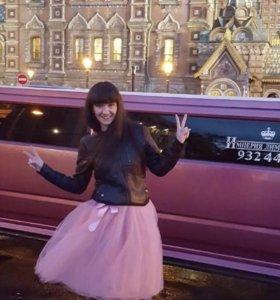 Женская пышная пыльно-розовая юбка из Фатина
