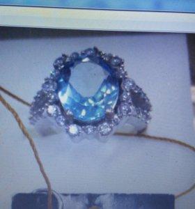 Кольцо серебро родированное новое