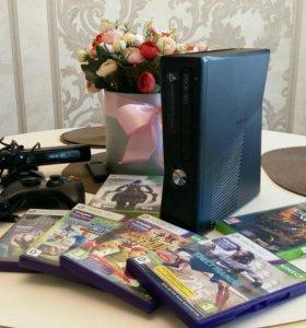Xbox 360 S+ 47 игр, кинект и два геймпада