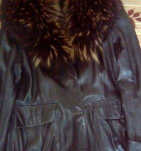 Куртка кожаная, демисезонная