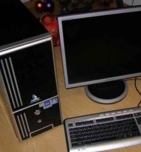 4е Ядра, 4е Гига Core2Quad с монитором, комплект.