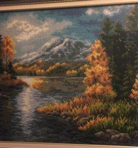 """Вышивка """"Озера в горах"""""""