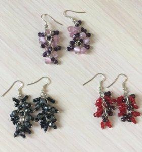 Сережки из бисера с камнями