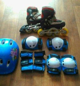 Детские ролики 30-33+ защита+шлем