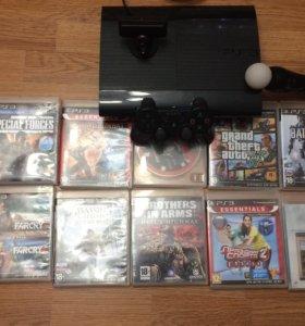 PS3 super slim  + 10 игр + весь комплект