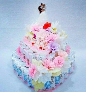 Свадебный тортик из конфет